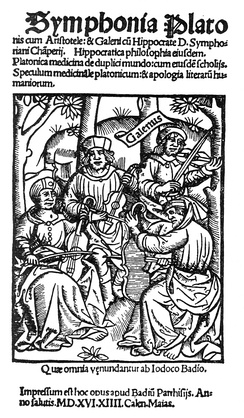Plato, Aristotle, Hippocrates and Galen play a quartet on viols in this fanciful woodcut from 1516.