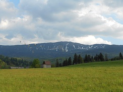"Mountains retain snow much longer than lower elevations, pictured ""Witches' Mountain"" in Poland at the end of May"