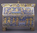The Becket Casket, the most elaborate, the largest and possibly the earliest Becket reliquary, Limoges enamel, c. 1180–90