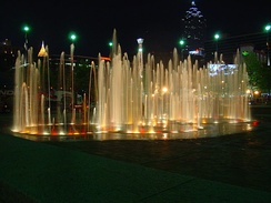 Fountain of Rings at Centennial Olympic Park. The park commemorates the 1996 Summer Olympics