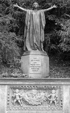 A statue at Cliveden, overlooking 42 inscribed stones dedicated to the dead of World War I. Sir Bertram MacKennal's figure represents Canada with the head reputedly modelled by Lady Astor