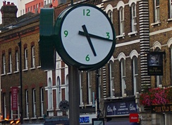 Clock installed in 2015 opposite the mainline station