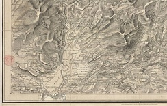 One-inch map of the route of the Ffestiniog Railway about 1840, showing the inclined plane that was used until the Moelwyn tunnel was built in 1842