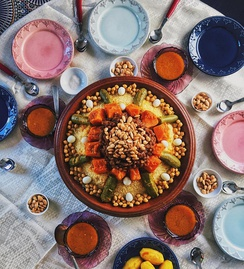 Fresh Moroccan couscous with vegetables and chickpeas