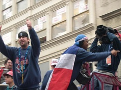 Derek Lowe (left) and Pedro Martínez at the Red Sox World Series Victory Parade in 2004.