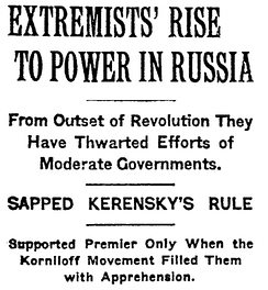 The New York Times headline from 9 November 1917