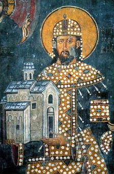 Founder fresco of King Stefan Dragutin, founder of the church, 1296. Note that he is depicted holding his endowment.