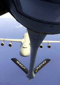 A USAF C-5 approaches a KC-135R.