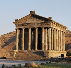 "The pagan Garni Temple, probably built in the first century, is the only ""Greco-Roman colonnaded building"" in the post-Soviet states.[54]"