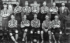 The New Brompton team of 1894 sporting typical kit of the era, including heavy jersey, long shorts, heavy high-topped boots and shin pads worn outside the stockings.  Goalkeepers wore the same shirts as their team-mates at this point in time.