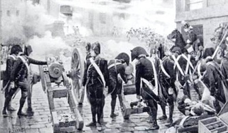 Pro-Convention gunners firing on the Royalist mob
