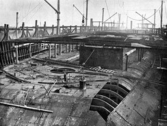Dreadnought 36 days after the keel was laid showing armoured deck largely in place and beams for main deck