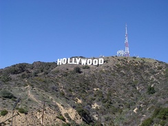 The Hollywood sign in the Hollywood Hills, Los Angeles, has come to represent the American film industry.