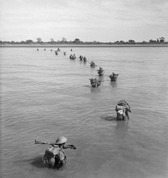 Indian troops wade ashore at Akyab, January 1945.