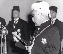 King Abdullah I declaring the end of the British Mandate and the independence of the Hashemite Kingdom of Jordan, 25 May 1946.