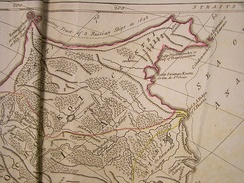 An early (1773) map of Chukotka, showing the route of the Dezhnyov expedition of 1648