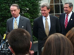 Senators Grassley and Max Baucus (D-MT), and Representative E. Clay Shaw (R-FL) (left to right) address the media after a meeting at the White House with President Bill Clinton