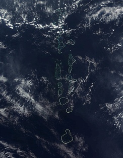 NASA satellite image of some of the atolls of the Maldives, which consists of 1,322 islands arranged into 26 atolls.
