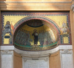 Copy of the Byzantine mosaics that used to be on the apse of the Leonian Triclinium, one of the main halls of the ancient Lateran palace