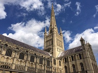 Norwich Cathedral: spire and south transept