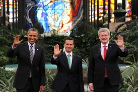 Obama, Peña Nieto and Harper at the IX North American Leaders' Summit (informally known as the Three Amigos Summit) in Toluca