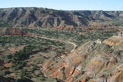 The rugged country of Palo Duro Canyon