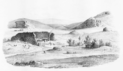 The ruins of the stadium in the background, 1835
