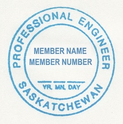 Professional engineer's seal (in fact a rubber stamp) in the Province of Saskatchewan, Canada