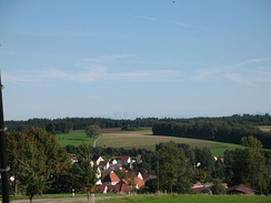 fields outside Biberach an der Ris, where much of the fighting took place.  In the background is the Zugspitze, the highest mountain in Germany, which lies on the border with Austria and Bavaria.