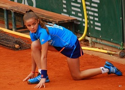 A ballgirl at the 2014 French Open in tennis.