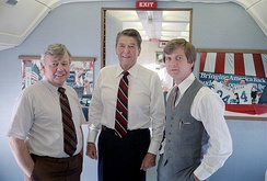 President Ronald Reagan during a trip via Air Force One to Alabama with Lee Atwater and Stu Spencer on October 15, 1984
