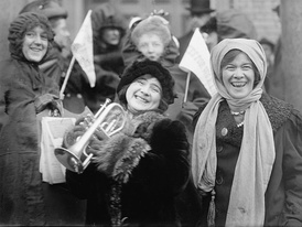 U.S. women suffragists demonstrating in February 1913