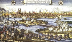 Sack of Magdeburg in 1631. Of the 30,000 citizens, only 5,000 survived.