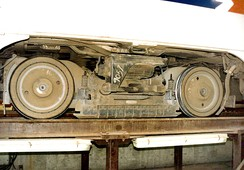 Side view of a SEPTA K-Car bogie