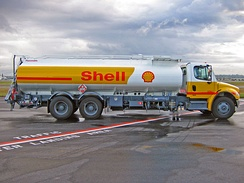 Shell Jet A-1 refueller truck on the ramp at Vancouver International Airport. Note the signs indicating UN1863 hazardous material and JET A-1.