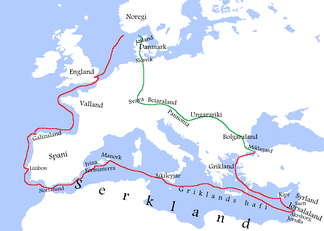 The route taken by Sigurd I to Jerusalem and Constantinople (red line) and back to Norway (green line) according to Heimskringla. (Legend in Old Norse.)
