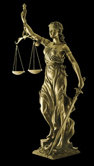 "Iustitia (""Lady Justice"") is a symbolic personification of the coercive power of a tribunal: a sword representing state authority, scales representing an objective standard and a blindfold indicating that justice should be impartial.[1]"