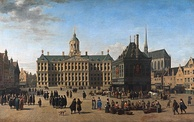 The Dam Square in Amsterdam, by Gerrit Adriaensz Berckheyde, c. 1660. In the picture of the centre of highly cosmopolitan and tolerant Amsterdam, Muslim/Oriental figures (possibly Ottoman or Moroccan merchants) are shown negotiating. While the VOC was a major force behind the economic miracle of the Dutch Republic in the 17th-century, the VOC's institutional innovations played a decisive role in the rise of Amsterdam as the first modern model of a (global) international financial centre.