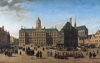The Dam Square in Amsterdam, by Gerrit Adriaensz Berckheyde, c. 1660. In the picture of the centre of highly cosmopolitan and tolerant Amsterdam, Muslim/Oriental figures (possibly Ottoman or Moroccan merchants) are shown negotiating. The 17th-century Dutch institutional innovations helped lay the foundations for modern-day international financial centres that now dominate the global financial system.[104][105]