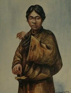 A 1905 illustration of a Tibetan man spinning wool