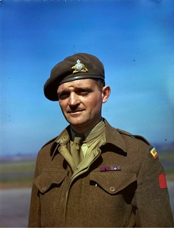 Major Paul Triquet wearing Victoria Cross ribbon bar