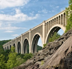 The Tunkhannock Viaduct in northeastern Pennsylvania opened in 1915 and is still in regular use today