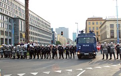 Police in Warsaw before the match between Poland and Russia