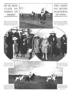 Polo match between the United Kingdom and Spain at Club Puerta de Hierro, 1922. The English side was represented by Frederick A. Gill and Teignmouth P. Melvill whilst the Spanish were represented by Alfonso XIII and the Duke of Peñaranda amongst others.