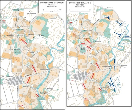 Battlefield of Antietam, situation September 15 to 16, 1862