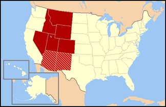 Regional definitions vary from source to source. The states shown in dark red are always included, while the striped states are usually considered part of the same region called the Mountain States.
