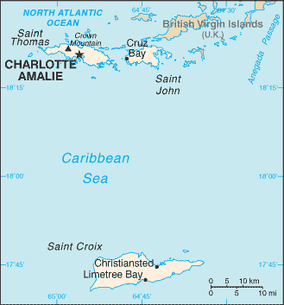 A map of the United States Virgin Islands