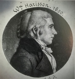 Engraved portrait print of Harrison at age 27 as a delegate member of the House of Representatives from the Northwest Territory, c. 1800 by Charles Balthazar Julien Févret de Saint-Mémin.[35][36]