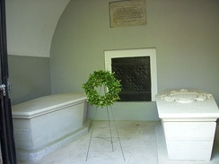 Sarcophagi of George (right) and Martha (left) Washington at the entrance to the Washington family mausoleum.