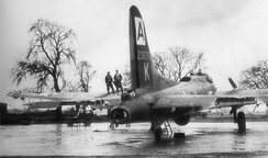 Lockheed/Vega B-17G-1-VE Fortress Serial 42-39775 damaged during a raid on the Bf-110 assembly plant at Waggum, near Brunswick Germany – 11 January 1944. This aircraft was repaired and returned to service, however it was again severely damaged and scrapped on 3 November 1944.